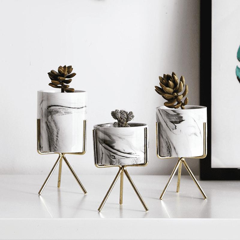 Minimalist Marble Oliver Spence Creative Ceramic & Gold Iron Desktop Planters 1
